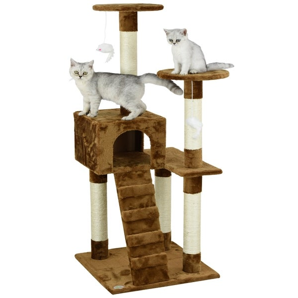 Go Pet Club Brown 52-inch High Cat Tree Furniture