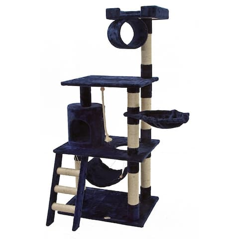 Go Pet Club Blue Wood/Sisal 62-inch Cat Tree Furniture