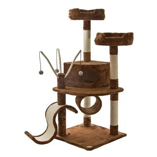 Go Pet Club Brown 55-inch High Cat Tree Furniture