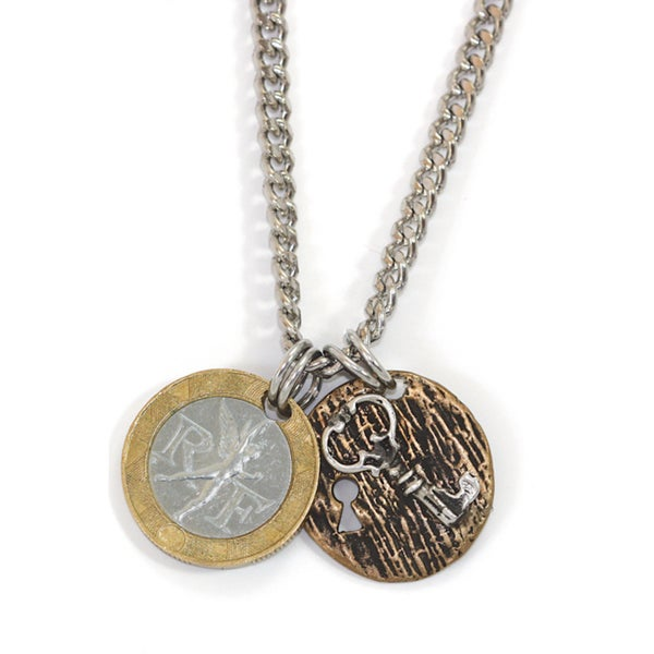 American Coin Treasures Sterling Silver Men's French Franc with Lock and Key Necklace