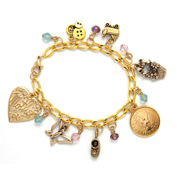 American Coin Treasures Goldtone Pewter Angel Coin Baby Charm Bracelet
