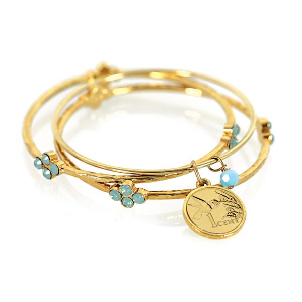 American Coin Treasures Gold Overlay Hummingbird Coin Bangle Bracelet Set