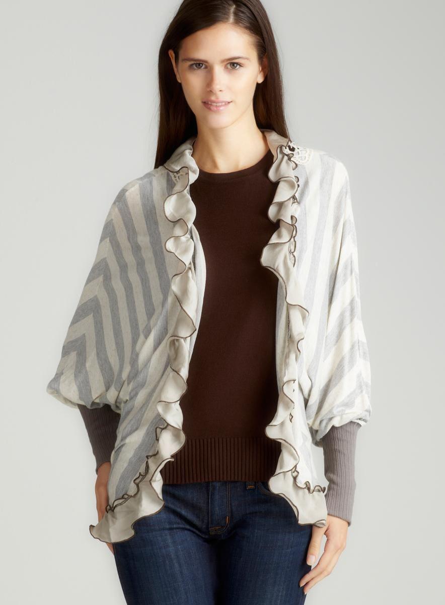 Scrapbook Maple Ruffle Stripe Cardigan