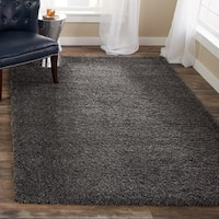 Clay Alder Home Coldwater Cozy Plush Dark Grey/ Charcoal Shag Rug