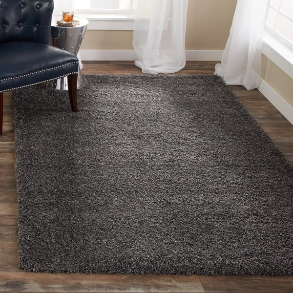 safavieh california cozy plush dark grey/ charcoal shag rug - free
