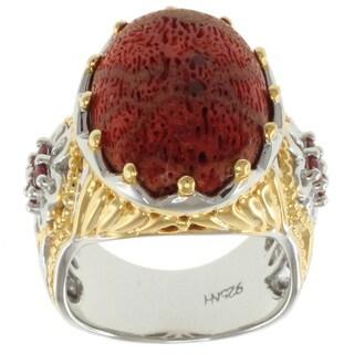 Michael Valitutti Two-tone Silver Coral Ring