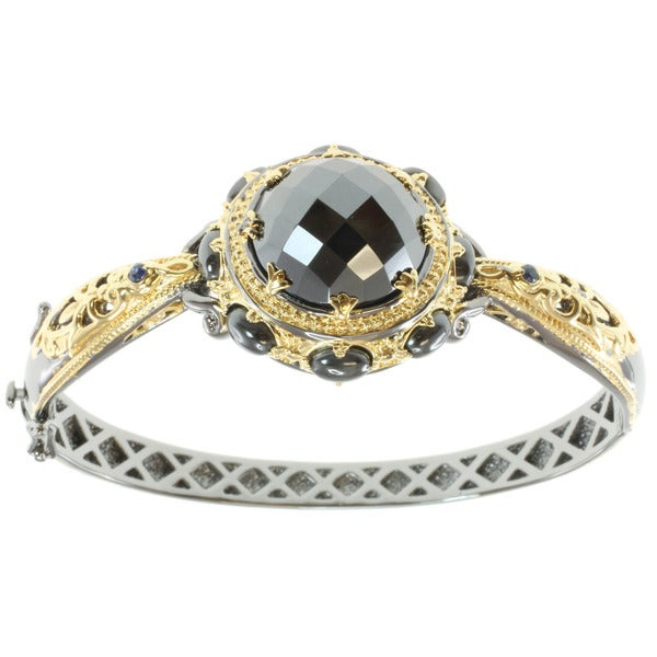 Michael Valitutti Two-tone Hematite and Blue Sapphire Bracelet