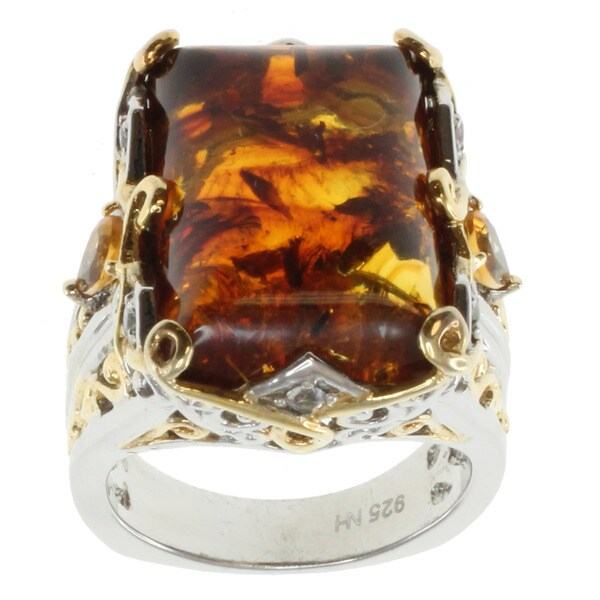 Michael Valitutti Two-tone Silver Amber Ring
