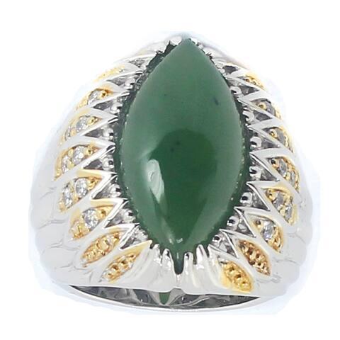 Michael Valitutti Palladium Silver Nephire Jade and White Sapphire Ring