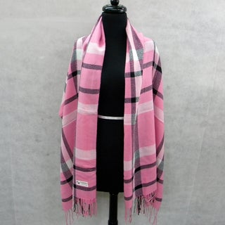 Pink and Black Plaid Pashmina Fringed Fashion Scarf