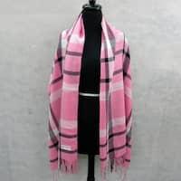 Pink and Black Plaid Pashmina Fringed Fashion Scarf