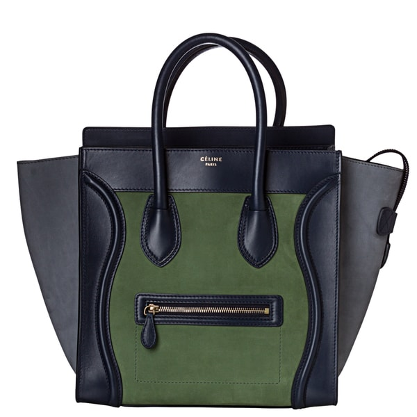 Celine Green Suede/ Navy Leather Expanded Luggage Tote Bag