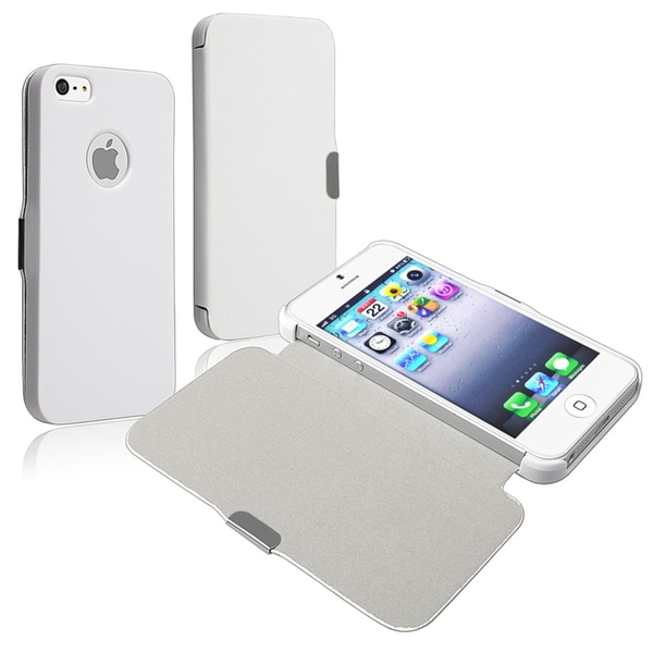 INSTEN White Snap-On Leather Protective Phone Case Cover for Apple iPhone 5/ 5S