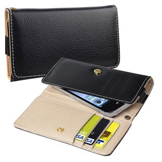 INSTEN Black Leather Wallet Phone Case Cover for Apple iPhone 5