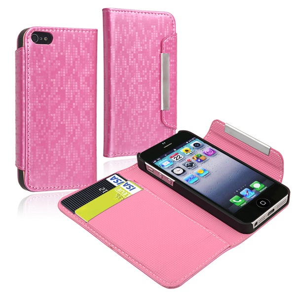 INSTEN Leather Wallet Phone Case Cover with Card Holder for Apple iPhone 5/ 5S