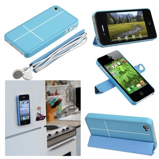 BasAcc Blue Case with Leather Smart Cover for Apple iPhone 4/ 4S