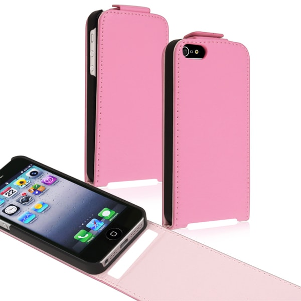 BasAcc Light Pink Snap-on Leather Case for Apple iPhone 5