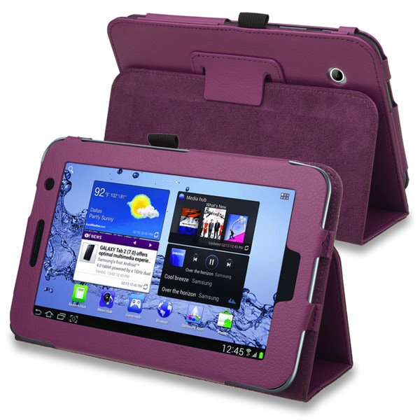 INSTEN Purple Leather Tablet Case Cover for Samsung Galaxy Tab 2 7.0 P3100/ P3110/ P3113