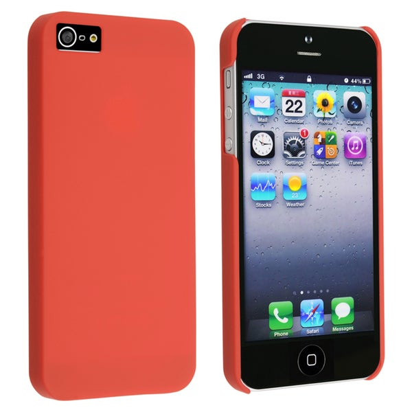 INSTEN Red Snap-on Rubber Coated Phone Case Cover for Apple iPhone 5