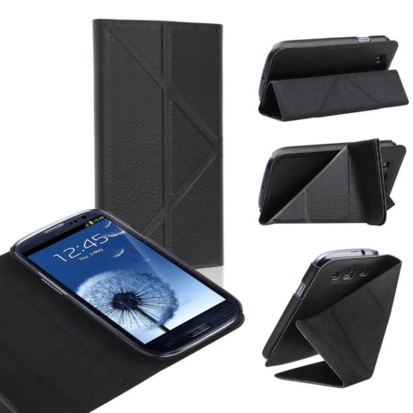 INSTEN Black Leather Phone Case Cover with Stand for Samsung Galaxy S III/ S3