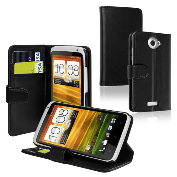 INSTEN Black Leather Phone Case Cover with Credit Card Wallet for HTC ONE X
