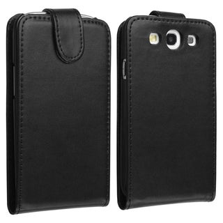 BasAcc Black Leather Case with Card Holder for Samsung Galaxy S3