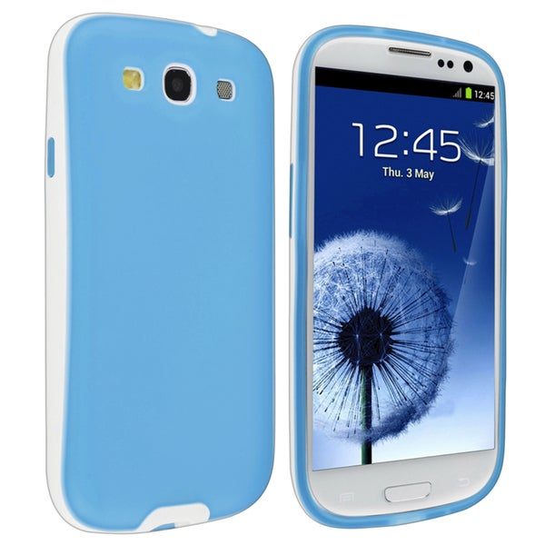 BasAcc Blue/ White TPU Rubber Skin Case for Samsung© Galaxy S III / S3