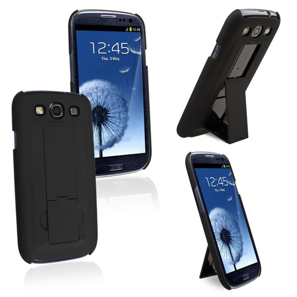 INSTEN Durable Black Snap-on Rubber Coated Case Cover for Samsung Galaxy SIII / S3