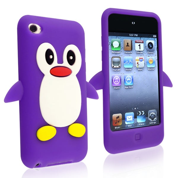 INSTEN Purple Soft Silicone Skin iPod Case Cover for Apple iPod Touch Generation 4