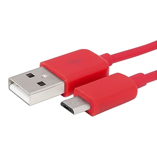 Insten 3-foot Red Micro USB 2-in-1 Charging Data Transfer M/ M Cable Cord for HTC One M9/ Samsung Galaxy S6/ Edge