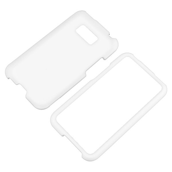 BasAcc White Snap-on Rubber Coated Case for LG Optimus Elite LS696