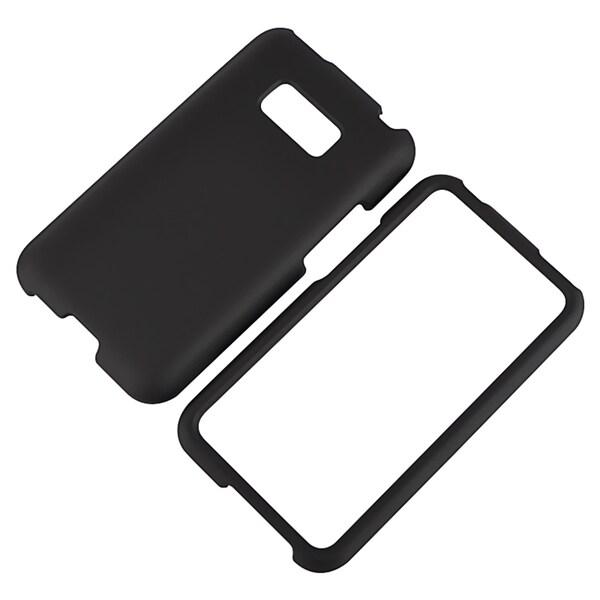 BasAcc Black Snap-on Rubber Coated Case for LG Optimus Elite LS696