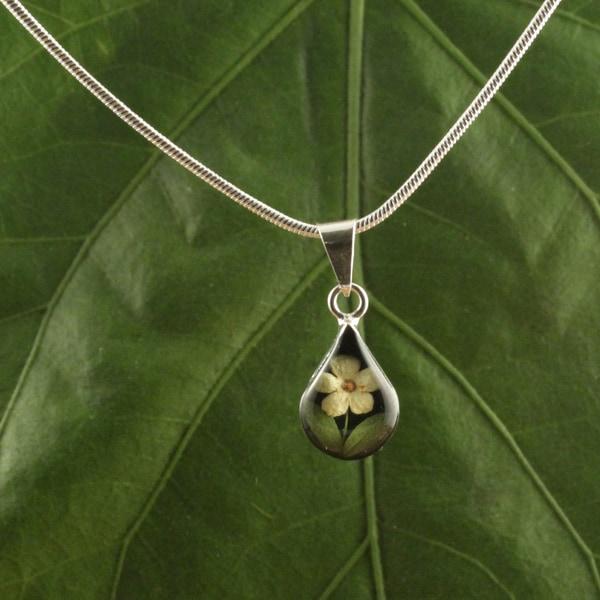 Sterling Silver Tear Drop Single Flower Pendant (Mexico)