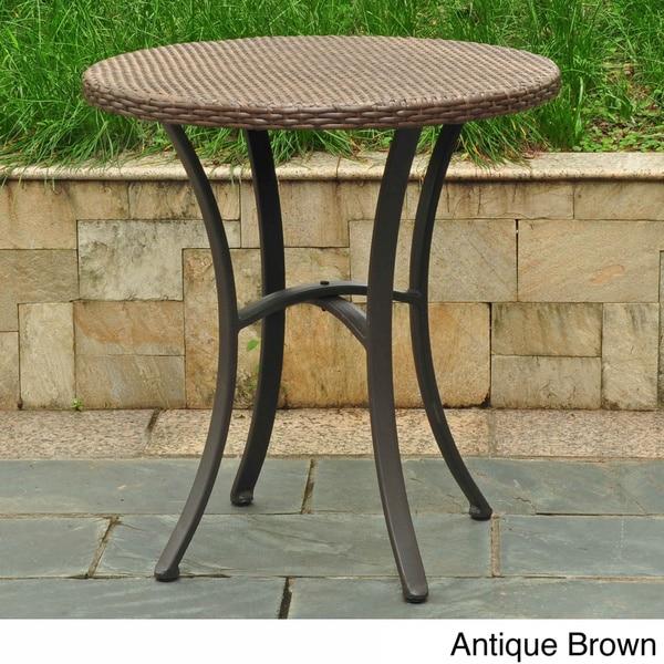 International Caravan Barcelona Resin Wicker/Aluminum 28-inch Round Outdoor Bistro/Side Table