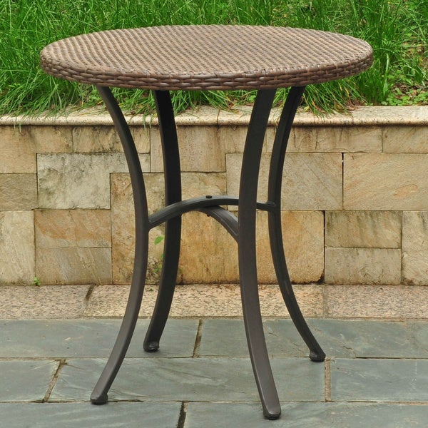 International Caravan Barcelona Resin Wicker/Aluminum 28-inch Round Outdoor Bistro/Side Table