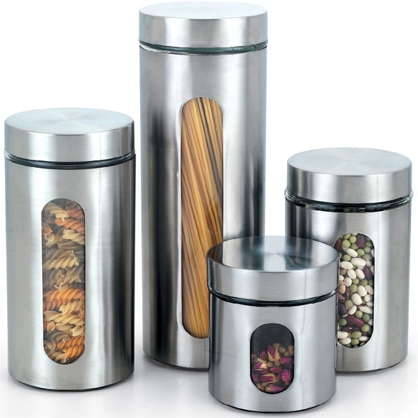 Cook N Home 4 Piece Glass Canister With Stainless Window Set Free Shipping On Orders Over 45