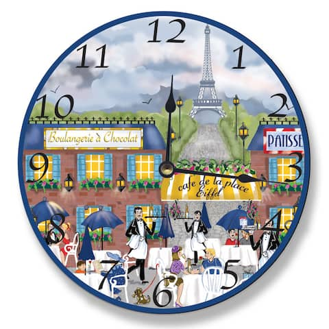 Paris Dining Scene Wall Clock