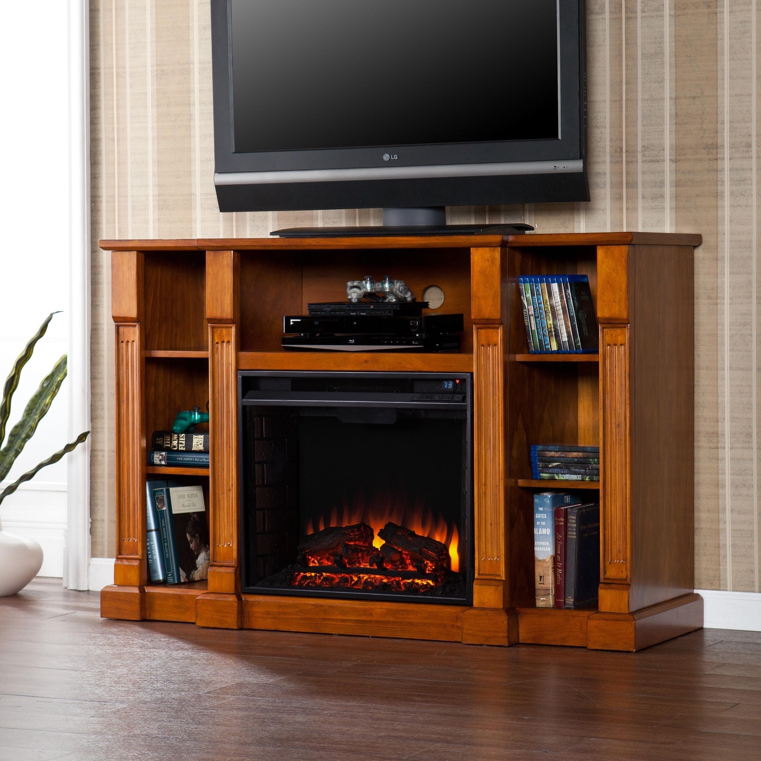 Harper Blvd Bernardo 52-inch Glazed Pine Electric Media Fireplace