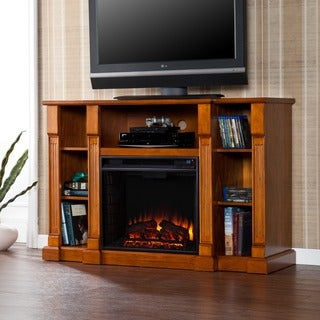 Harper Blvd Bernardo 52-inch Glazed Pine Electric Media Fireplace