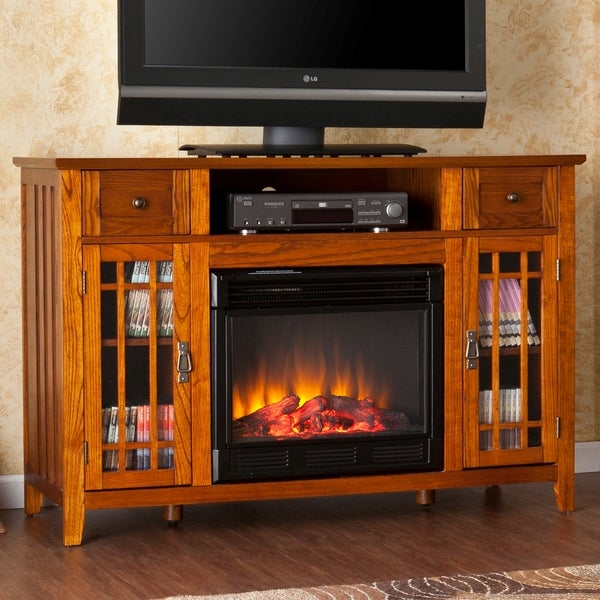 Harper Blvd Vinicio Mission Oak Electric Media Fireplace
