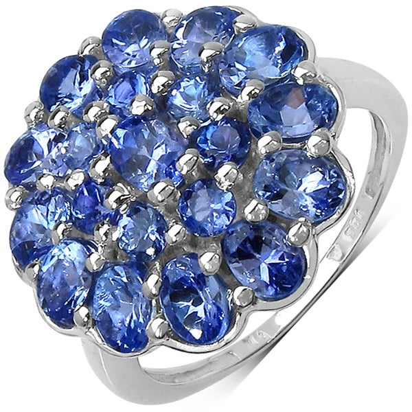 Malaika Sterling Silver 2 3/5ct TGW Tanzanite Cluster Ring