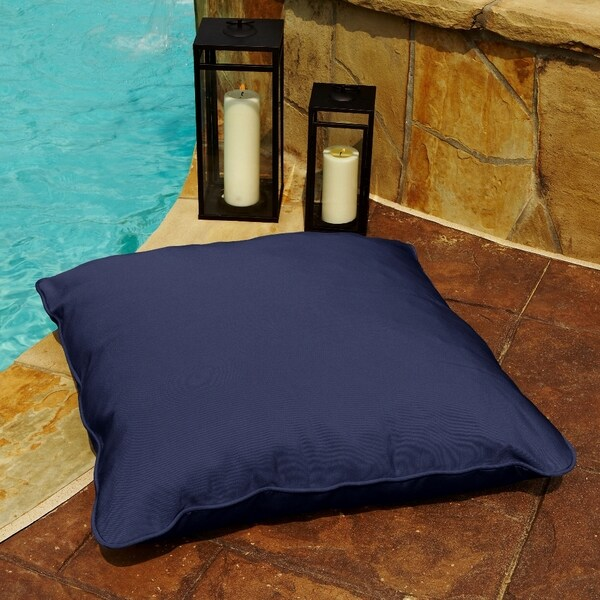 Clara Navy 26 Inch Square Indoor Outdoor Sunbrella Floor Pillow In W X D On Free Shipping Today 7324337