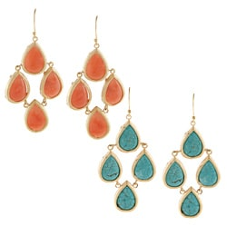 KC Signatures Gold-plated Tear Drop Chandelier Earrings