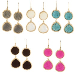 KC Signatures Gold-plated Circular/ Pear Shape Double Drop Earrings