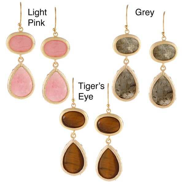 KC Signatures Gold-plated Oval Double Drop Earrings