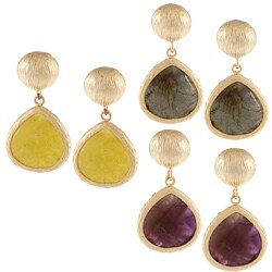 KC Signatures Gold-plated Disc Pear Earrings