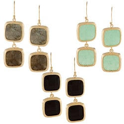 KC Signatures Gold-plated Square Shape Double Drop Earrings