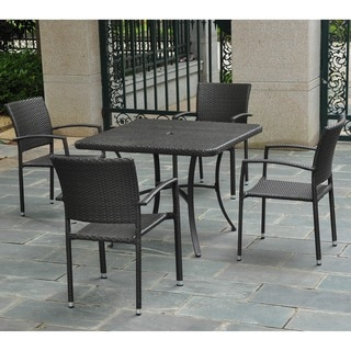 International Caravan Barcelona Resin Wicker/Aluminum 39-inch Square Table with 4 Arm Chairs