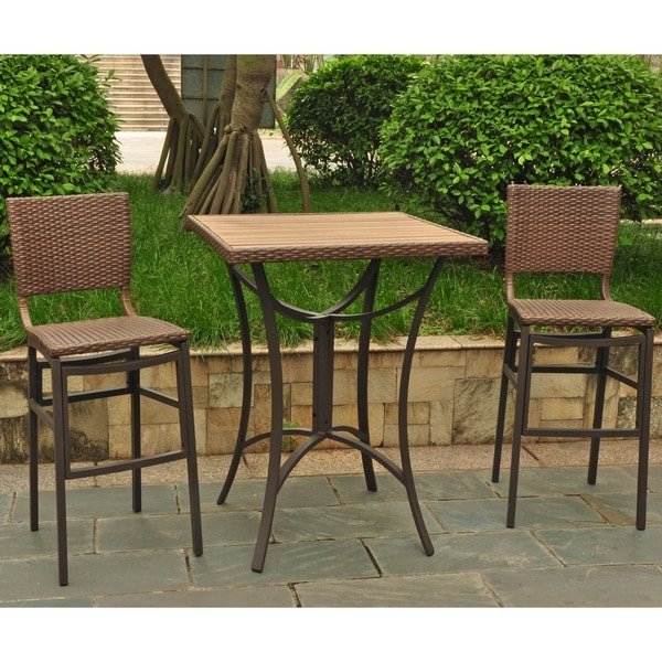 International Caravan Barcelona Resin Wicker/ Aluminum Bar Height Patio  Bistro Set (Set Of