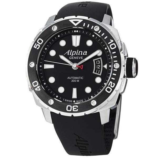 Alpina Men's 'Extreme Diver' Black Dial Rubber Strap Automatic Watch